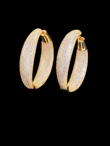 gold Brass Cubic Zirconia Round Luxury Cluster Earring