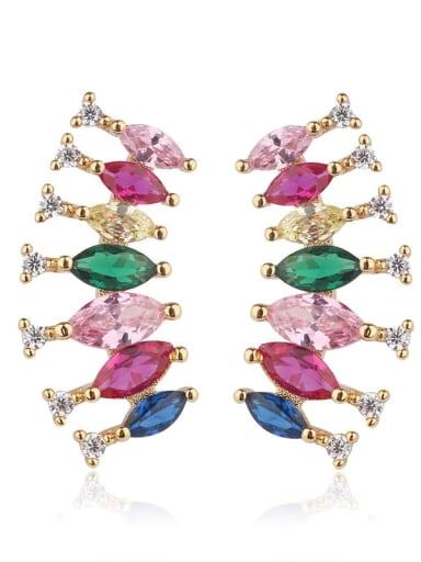 gold Copper Cubic Zirconia Multi Color Water Drop Luxury Stud Earring