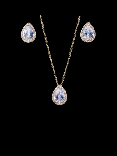 gold Brass Cubic Zirconia Luxury Water Drop  Earring and Necklace Set