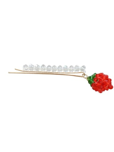 Alloy Crystal word strawberry pendant side clip