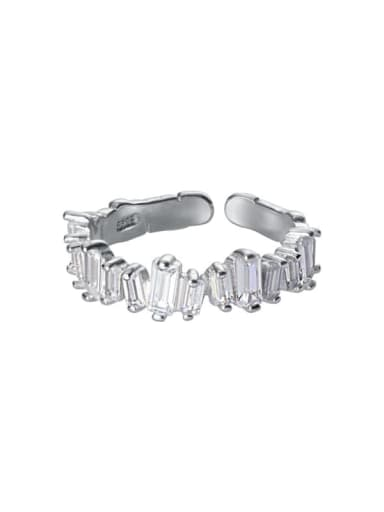 silver 925 Sterling Silver Cubic Zirconia Irregular Minimalist Band Ring