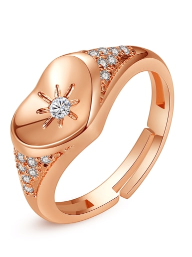 Copper Cubic Zirconia Heart Minimalist Free Size Band Ring