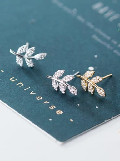 925 Sterling Silver Cubic Zirconia White Leaf Dainty Stud Earring
