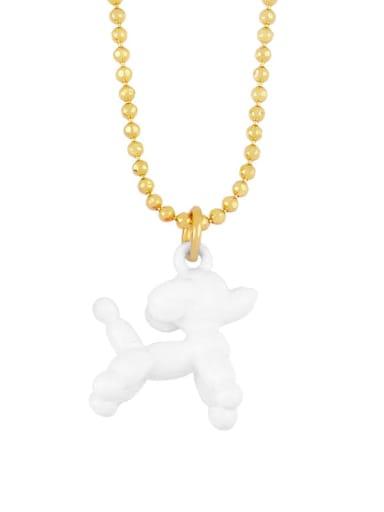 white Brasel  Cute Cartoon Dog Pendat Necklaces