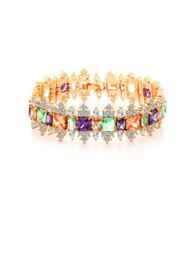 Copper Cubic Zirconia Multi Color Geometric Luxury Stretch Bracelet