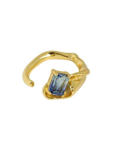 18K gold [No. 13 adjustable] 925 Sterling Silver Glass Stone Irregular Vintage Band Ring