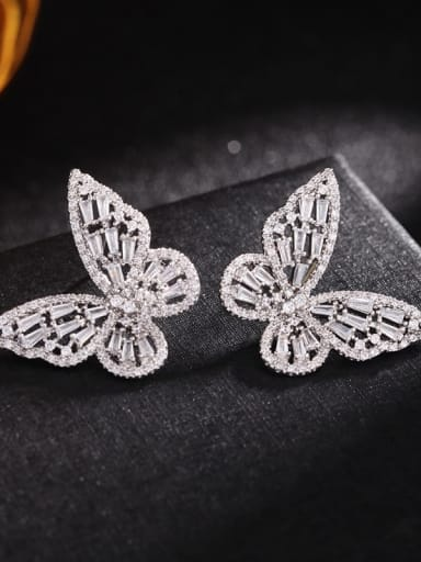 Platinum White Brass Cubic Zirconia Butterfly Statement Stud Earring