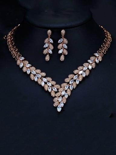 Rose gold white zirconium Brass Cubic Zirconia Luxury Leaf  Earring and Necklace Set