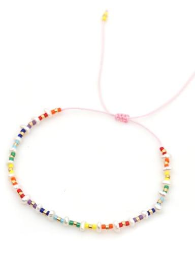 ZZ B200030B Stainless steel Freshwater Pearl Multi Color Geometric Minimalist Woven Bracelet