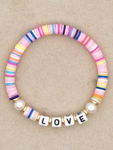 QT B200144C Stainless steel Freshwater Pearl Multi Color Polymer Clay Letter Bohemia Stretch Bracelet