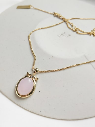 925 Sterling Silver Pink  Crystal Necklace