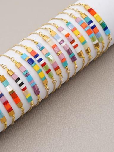 Stainless steel with TIla Bead Multi Color Geometric Bohemia Adjustable Bracelet