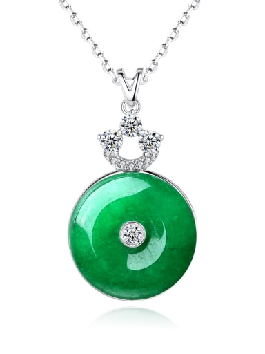 Brass Emerald Geometric Ethnic Earring