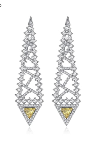 Copper Cubic Zirconia Hollow Triangle Hip Hop Chandelier Earring