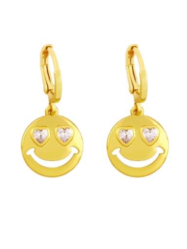 white Brass Rhinestone Smiley Minimalist Huggie Earring
