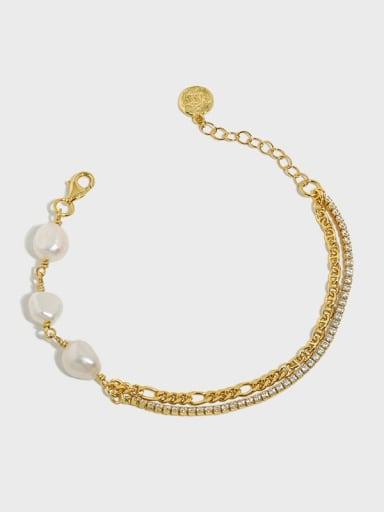 925 Sterling Silver Freshwater Pearl Geometric Vintage Strand Bracelet