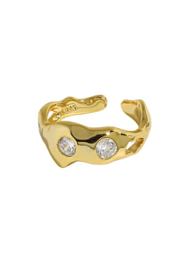 18K gold [No. 13 adjustable] 925 Sterling Silver Rhinestone Irregular Vintage Band Ring