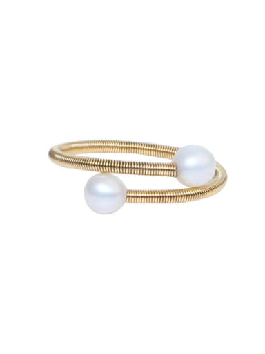 Brass Freshwater Pearl Geometric Minimalist Stackable Ring