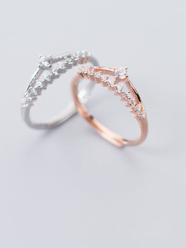 925 sterling silver cubic zirconia  irregular cute free size ring