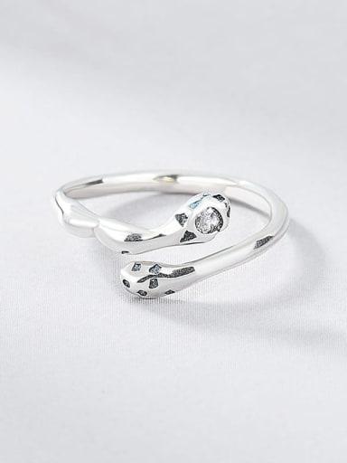 925 Sterling Silver Rhinestone Snake Vintage Band Ring