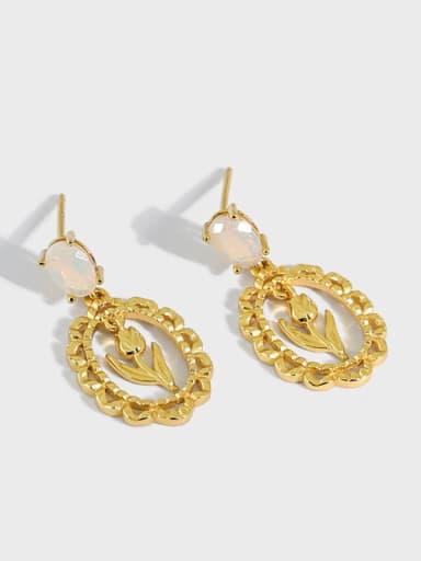 925 Sterling Silver Opal Flower Vintage Drop Earring