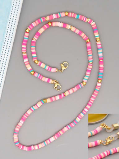 RT N200005D Stainless steel Bead Multi Color Polymer Clay Round Bohemia Hand-woven Necklace