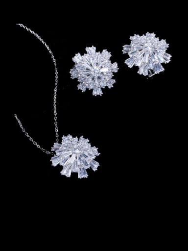 Platinum chain Brass Cubic Zirconia Luxury Flower Earring and Necklace Set
