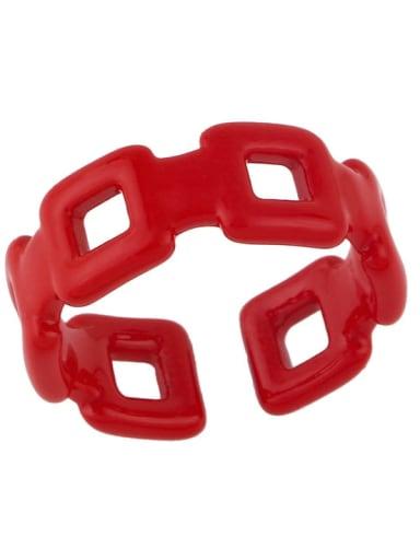 ?? Brass Enamel Geometric Minimalist Band Ring