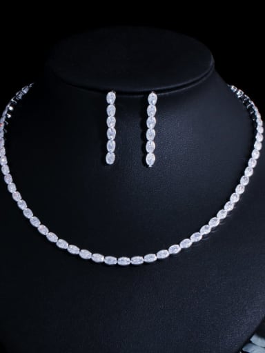 Platinum Brass Cubic Zirconia Minimalist Geometric  Earring and Necklace Set