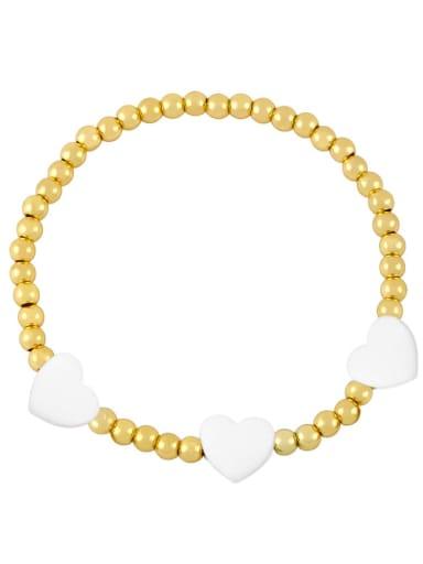 white Brass Enamel Heart Trend Beaded Bracelet