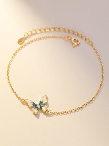 925 Sterling Silver Enamel Butterfly Minimalist Link Bracelet