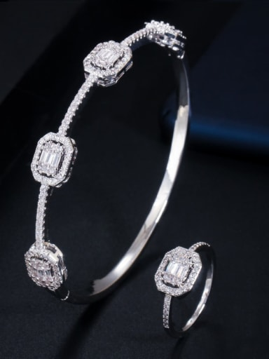 Copper Cubic Zirconia Luxury Geometric Ring and Bangle Set
