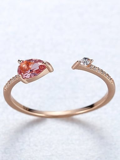 18K red 22i03 925 Sterling Silver Cubic Zirconia Triangle Minimalist Band Ring