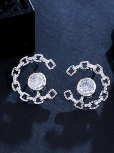 white Brass Cubic Zirconia Geometric Luxury Stud Earring
