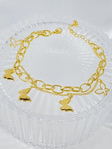 Titanium Steel Cubic Zirconia Butterfly Hip Hop Strand Bracelet