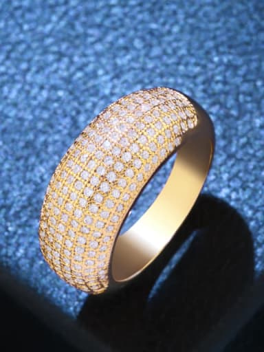 golden Brass Cubic Zirconia Geometric Statement Cocktail Ring