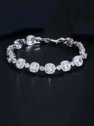 platinum Copper Cubic Zirconia Geometric Dainty Bracelet