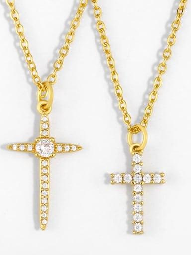 Copper Cubic Zirconia Cross Vintage Regligious Necklace