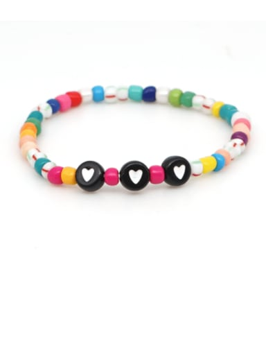 B B190075A Stainless steel MGB  Bead Multi Color Letter Bohemia Stretch Bracelet