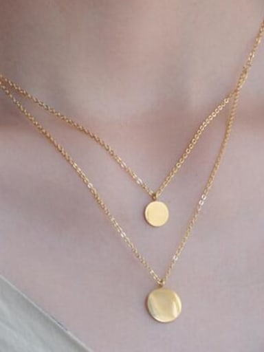 Fashion Metal Round Minimalist Multi Strand Necklace