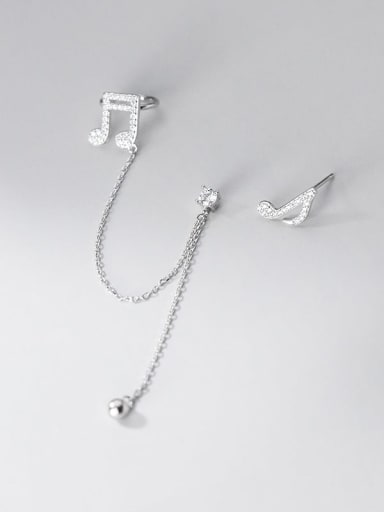 silver 925 Sterling Silver Cubic Zirconia  Minimalist Asymmetrical chain notes  Drop Earring