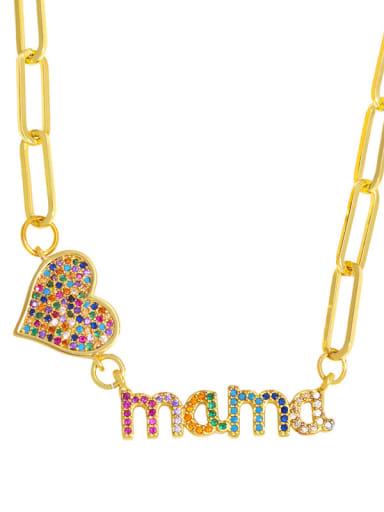 Brass Cubic Zirconia Letter Hip Hop Heart Pendant Necklace