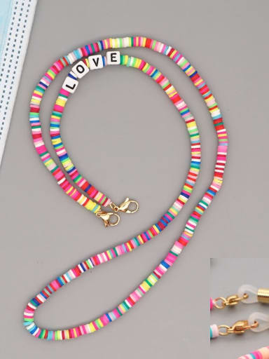 RT N200006A Stainless steel Bead Multi Color Polymer Clay Letter Bohemia Hand-woven Necklace