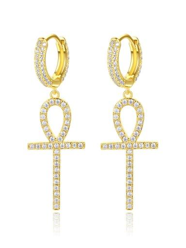 Brass Cubic Zirconia Cross Dainty Huggie Earring