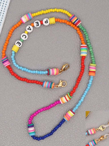 RT N200002A Stainless steel Bead Multi Color Polymer Clay Letter Bohemia Hand-woven Necklace