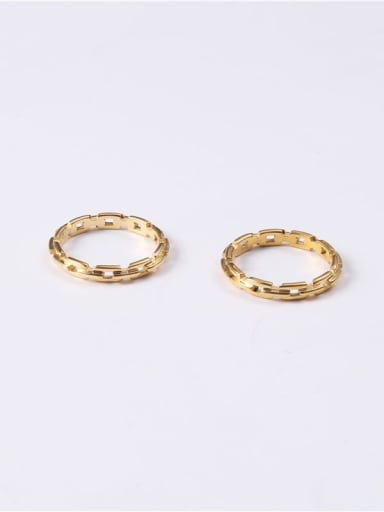 Titanium With Imitation Gold Plated Simplistic Round Band Rings