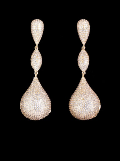 Gold and white stone Brass Cubic Zirconia Water Drop Statement  Three-color full diamond irregular long  Earring