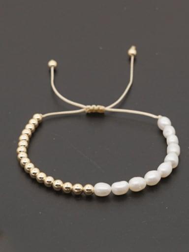 Stainless steel Freshwater Pearl Oval Minimalist Adjustable Bracelet
