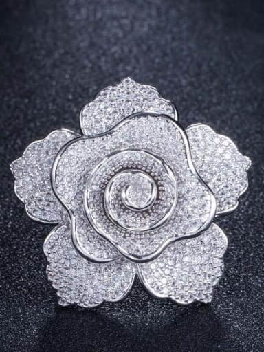 Platinum US  7 Brass Cubic Zirconia Flower Luxury Statement Ring