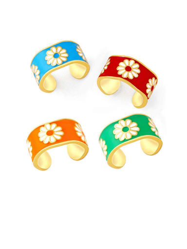 Brass Enamel Flower Hip Hop Band Ring